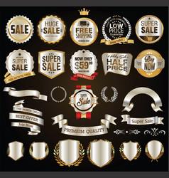 super sale golden retro badges and labels vector image
