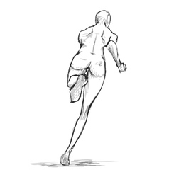 Female runner figure sketch From behind vector image vector image