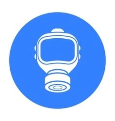 Fire gas mask icon black Single silhouette fire vector image