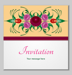 greeting card with stylized flowers and ribbons vector image vector image