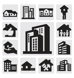 hous icons vector image vector image