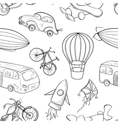 Sketches means of transport boys seamless pattern vector image