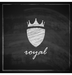 vintage with crown and shield on blackboard vector image vector image