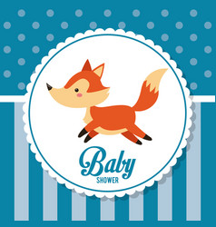 baby shower card invitation cute fox decoration vector image vector image