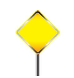 Blank warning road sign vector image