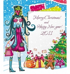 christmas paper girl sale good vector image