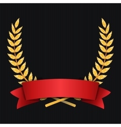 Gold Laurel Shine Wreath Award Design Red vector image vector image