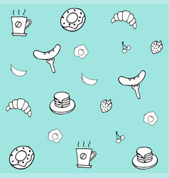 hand drawing breakfast doodle background vector image vector image