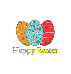 Happy easter easter eggs on a white background vector