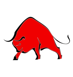 Red wild bull vector image vector image