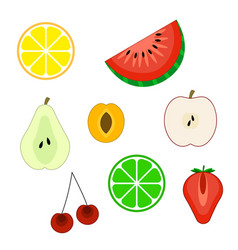 set of flat cuted fruit icons vector image vector image