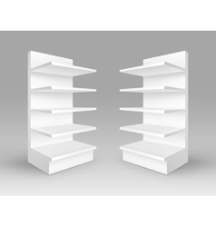 Set of white exhibition trade stands with shelves vector