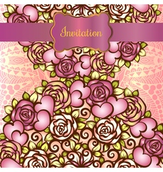 Vintage valentine or wedding invitration card with vector image vector image