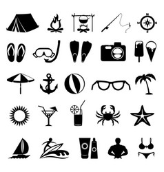Black summer icons vector