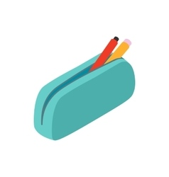 Blue pencil case icon isometric 3d style vector image