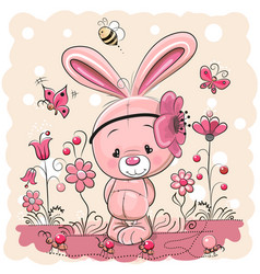cute rabbit with on a pink background vector image vector image