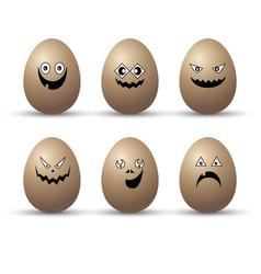 egg easter character cartoon emotion face set vector image