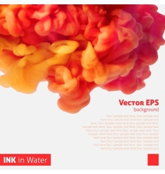 Orange color ink cloud in water vector image vector image