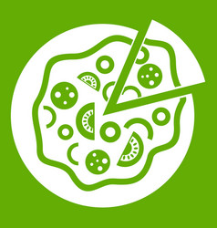 pizza food icon green vector image