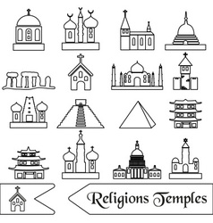 world religions types of temples outline icons vector image