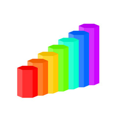3d bar graph is created from hexagons rainbow vector image