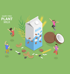 3d isometric flat concept dairy free vector image