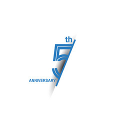 5 anniversary blue cut style isolated on white vector