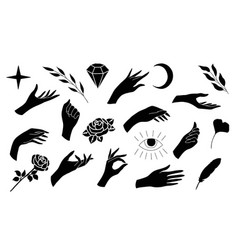 a set human palms and additional elements for vector image