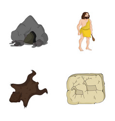 Ancient world stone age stone age set vector