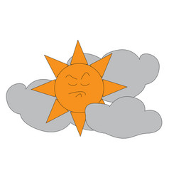 angry sun in between clouds print on white vector image