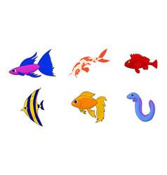 aquarium fish icon set cartoon style vector image