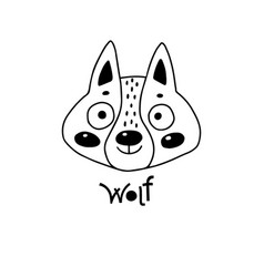 Avatar cute face wolf cub portrait vector