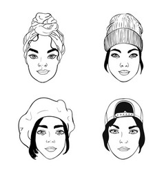 black and white portraits girls with headpieces vector image