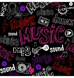 Black seamless music background vector