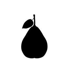 black silhouette of pear vector image