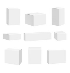 blank white box packages container quadrate boxes vector image