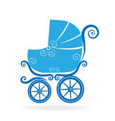 blue stroller icon vector image