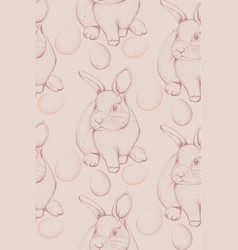 bunny rabbit pattern lineart cute spring vector image