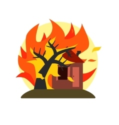 Burning tree falling on house natural force vector