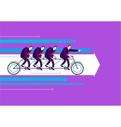 Business man with team on the bicycle vector