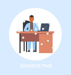 businessman sitting at workplace desk with vector image