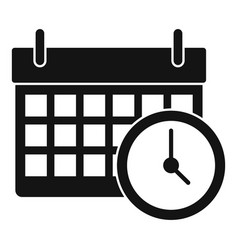calendar time clock icon simple style vector image