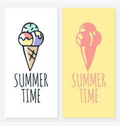 calligraphy summer time with ice cream icon drawn vector image