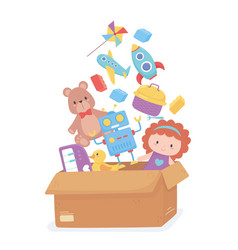 Cardboard box full toys object for small kids to vector