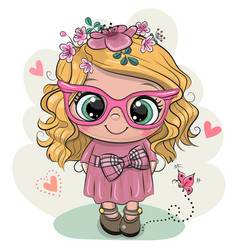 Cartoon girl with flowers on a white background vector