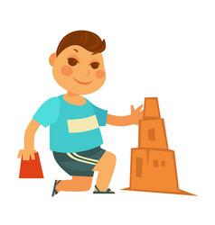 Cartoon little boy builds sand castle isolated vector