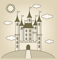 Castle of princess with clouds and sun vector
