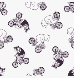 Childish seamless pattern with cute cartoon bears vector