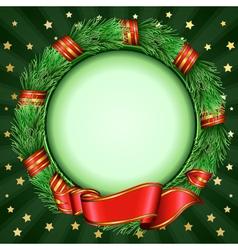 christmas circular frame of fir branches vector image