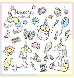 Colorful patches with unicorn vector